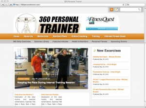 360personaltrainer.com – Screen Capture of Home Page